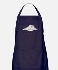 Distressed Manta Ray Silhouette Apron (dark)