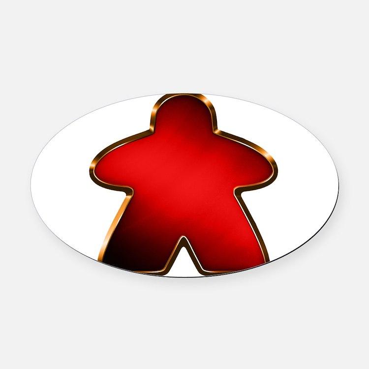 Metallic Meeple - Red Oval Car Magnet