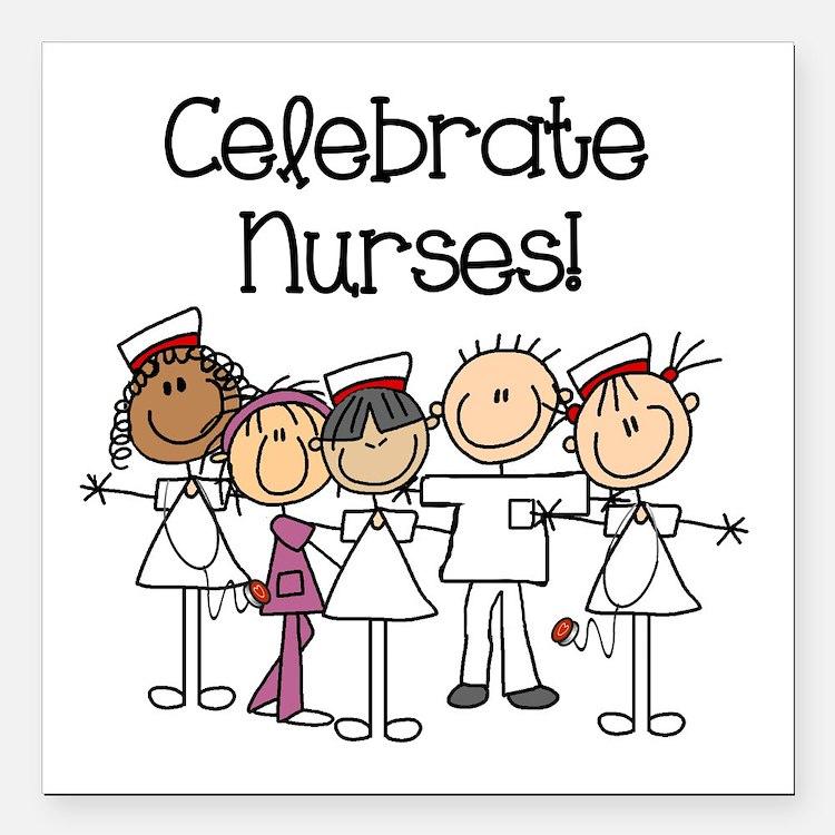 "Celebrate Nurses Square Car Magnet 3"" x 3"""