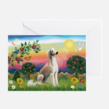 Bright Country with Saluki Greeting Card