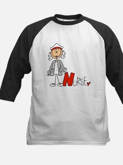 Female Stick Figure Nurse Kids Baseball Jersey