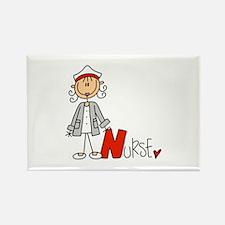 Female Stick Figure Nurse Rectangle Magnet