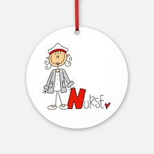 Female Stick Figure Nurse Ornament (round)