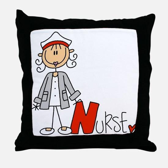 Female Stick Figure Nurse Throw Pillow