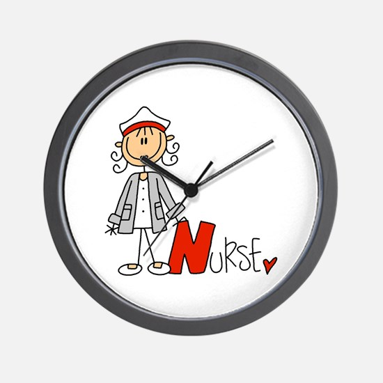 Female Stick Figure Nurse Wall Clock