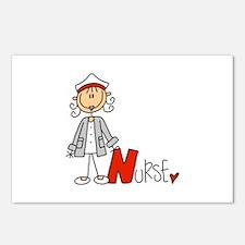 Female Stick Figure Nurse Postcards (Package of 8)