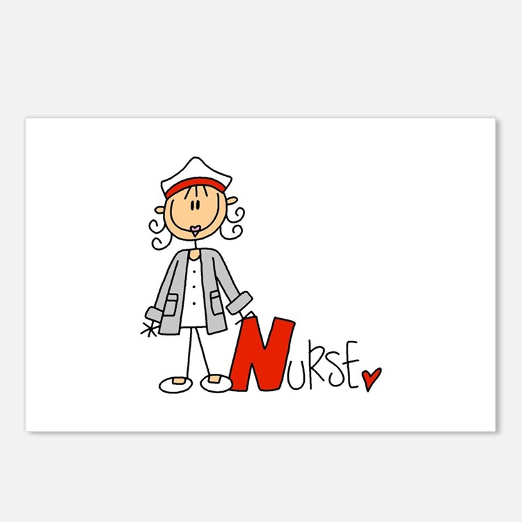 Female Stick Figure Nurse Postcards (Package of 8)