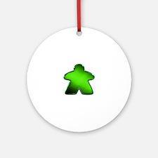Metallic Meeple - Green Ornament (Round)