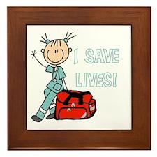 Female EMT I Save Lives Framed Tile