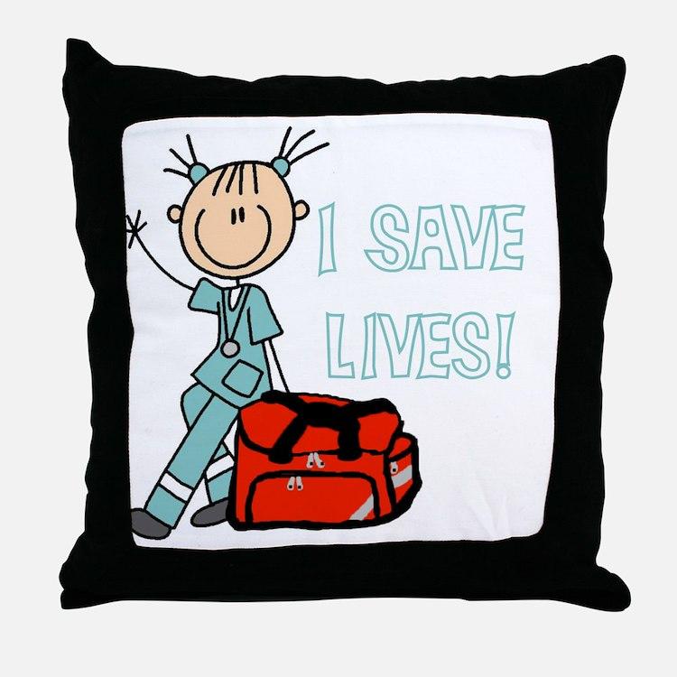 Female EMT I Save Lives Throw Pillow