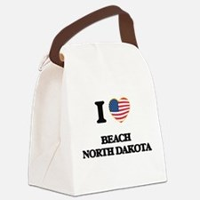 I love Beach North Dakota Canvas Lunch Bag