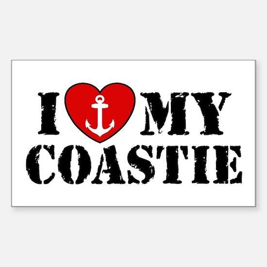 I Love My Coastie Rectangle Decal