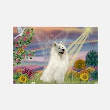 Cloud Angel & Samoyed Rectangle Magnet