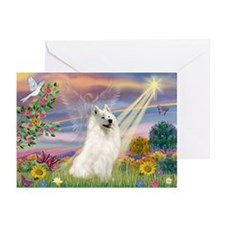 Cloud Angel & Samoyed Greeting Cards (Pk of 20)