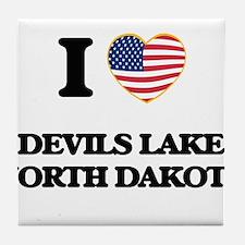 I love Devils Lake North Dakota Tile Coaster