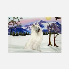 Samoyed in Snow Country Rectangle Magnet