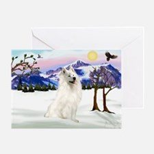 Samoyed in Snow Country Greeting Card