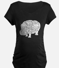 Distressed Hippopotamus Silhouette Maternity T-Shi