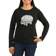 Distressed Hippopotamus Silhouette Long Sleeve T-S