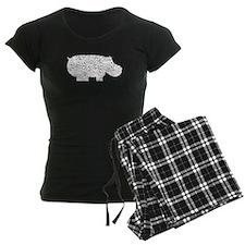 Distressed Hippopotamus Silhouette Pajamas