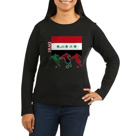 Iraq Soccer Women's Long Sleeve Dark T-Shirt