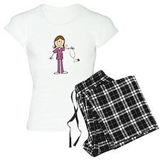 Brunette Female Nurse Pajamas