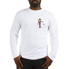 Brunette Female Nurse Long Sleeve T-Shirt