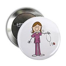 "Brunette Female Nurse 2.25"" Button (10 Pack)"
