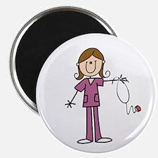 "Brunette Female Nurse 2.25"" Magnet (100 Magne"