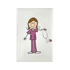 Brunette Female Nurse Rectangle Magnet Magnets
