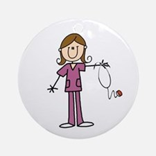 Brunette Female Nurse Ornament (round)