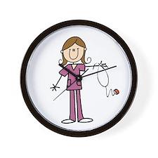 Brunette Female Nurse Wall Clock