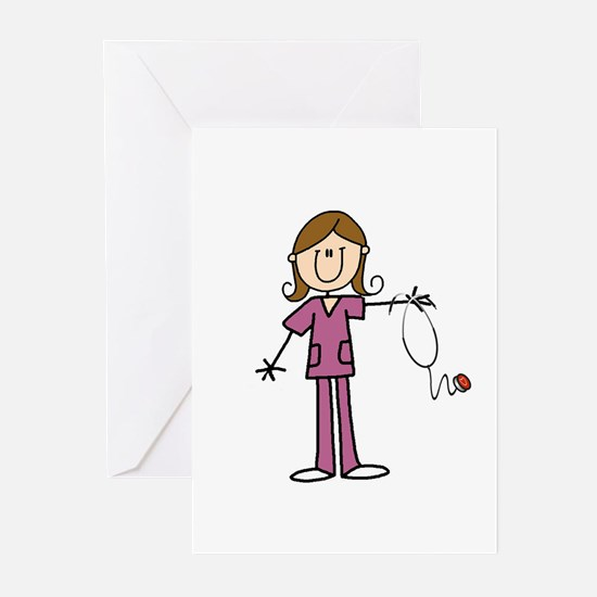 Brunette Female Nurse Greeting Cards (pk Of 10)