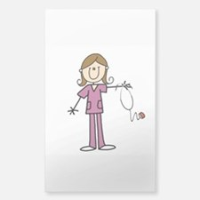 Brunette Female Nurse Sticker (rectangle)