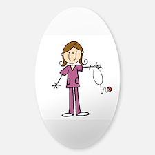 Brunette Female Nurse Sticker (oval)