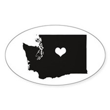 Heart In Washington State Bumper Stickers