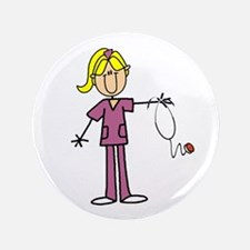 Blond Female Nurse Button