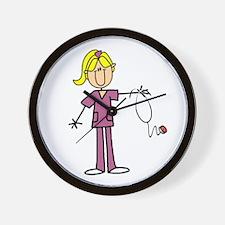 Blond Female Nurse Wall Clock