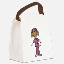 African American Female Nurse Canvas Lunch Bag