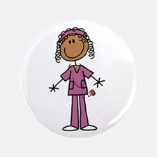African American Female Nurse Button