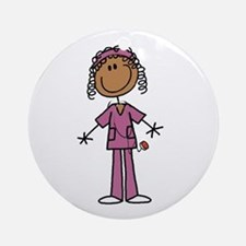 African American Female Nurse Ornament (Round)
