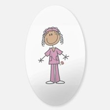 African American Female Nurse Sticker (Oval)