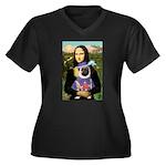 Mona & Sir Pug Women's Plus Size V-Neck Dark T-Shi