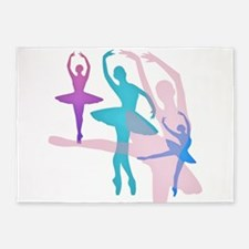 Pretty Dancing Ballerinas 5'x7'Area Rug