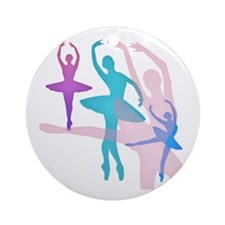 Pretty Dancing Ballerinas Ornament (Round)
