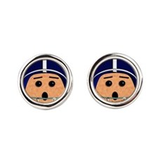 Blue and White Football Dude Round Cufflinks