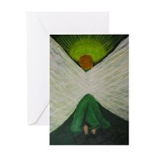 Green Angel Raphael Greeting Cards