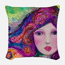 Mysterious Beauty Woven Throw Pillow