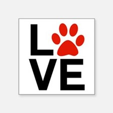 """Love Dogs / Cats Pawprints Square Sticker 3"""" x 3"""""""
