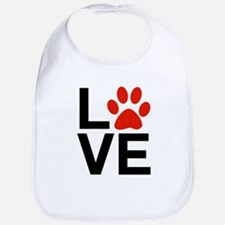 Love Dogs / Cats Pawprints Bib